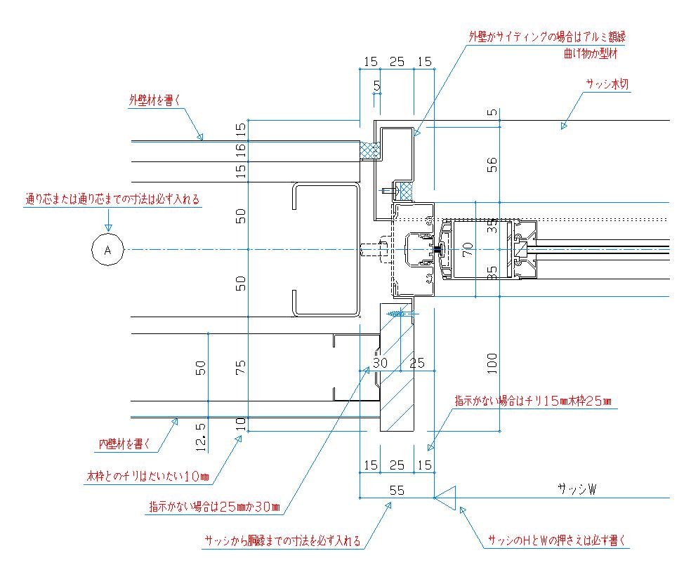 サッシ図 書き方 CAD