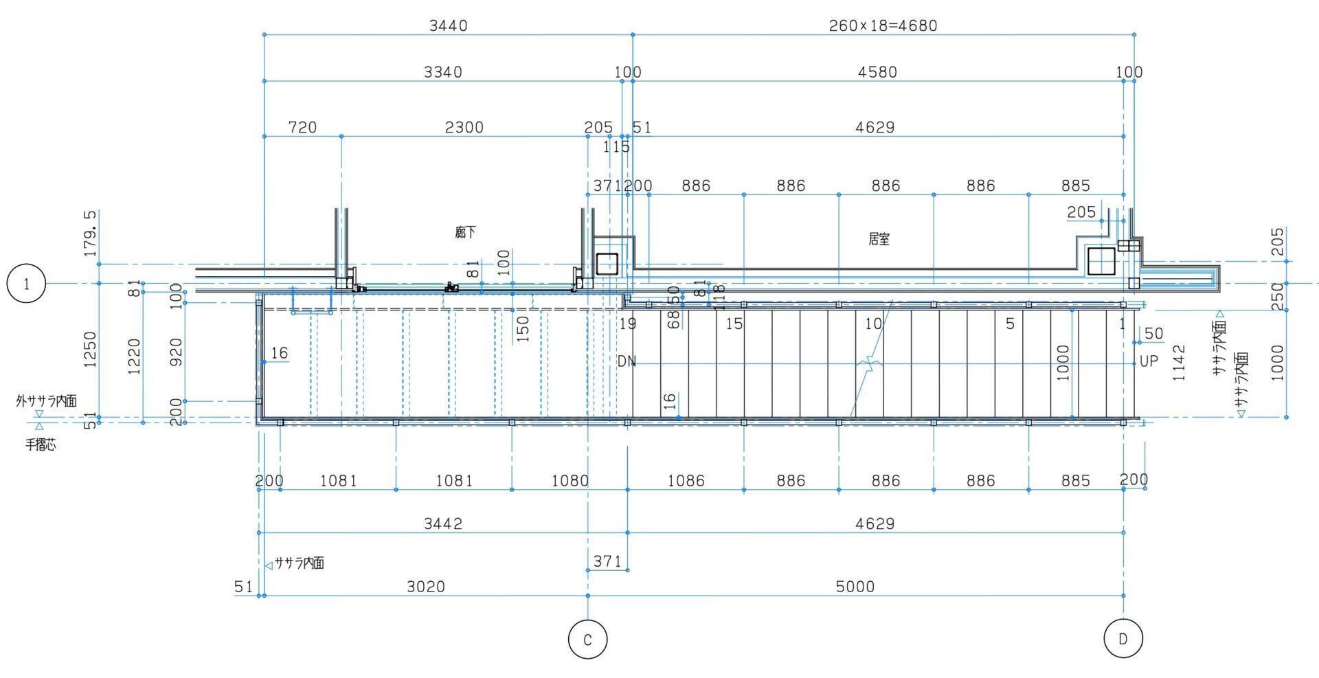 階段手摺 平面図 CAD