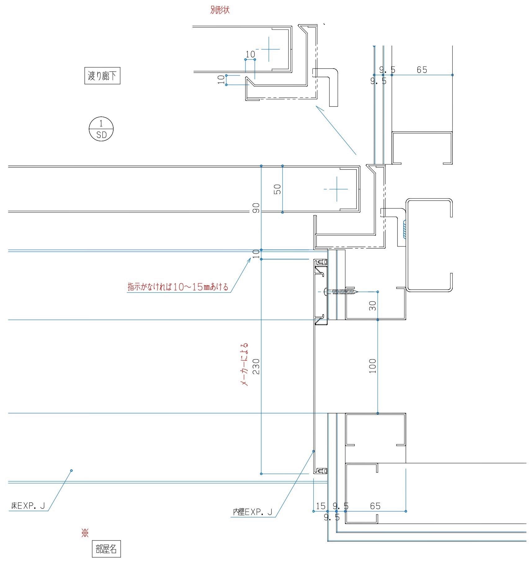 スチールドア 開き扉 CAD